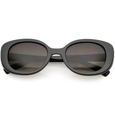 cc1f50cd63 Retro Thick Chunky Oval Sunglasses Neutral Colored Round Lens 52mm (Shiny  Black   Lavender)