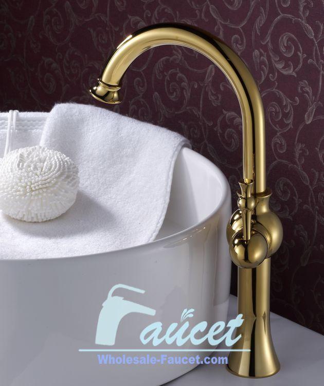 Single Handle Bathroom Vessel faucet In Polished Brass DL-4810H ...