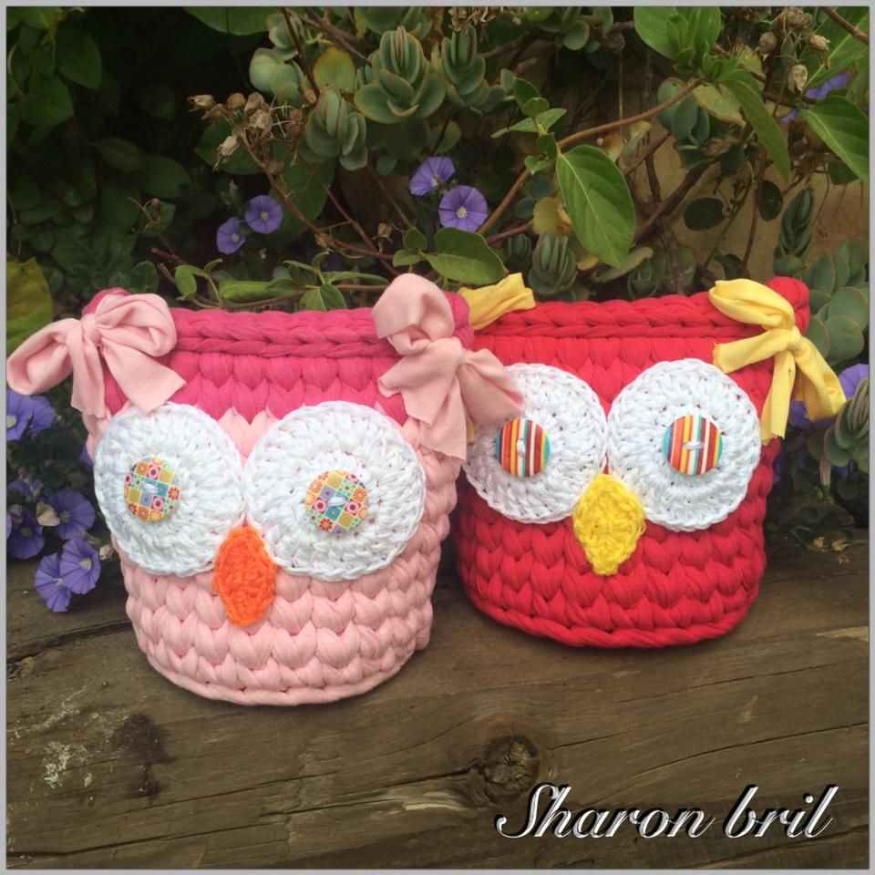 Pin by cristina provensal on cestos de trapillo pinterest owl crochet owl basket bankloansurffo Images