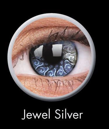 Silver Jewel Stars & Jewels Contact Lenses by ColourVUE: Our Silver Jewel Stars & Jewels Lenses by ColourVUE will catch the attention of anyone you make eye contact with! The stunning color and patented Hydrogel material make these lenses both attractive and comfortable to wear for up to 8 hours. Each pair lasts about 12 months. Buy a pair now for $20.15! #coloredeyecontacts
