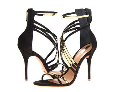 "Schutz ""Ezri"" black with gold straps heels from fall 2013 collection. Click here to buy."