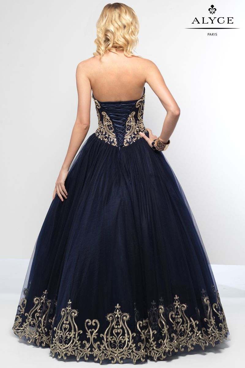 Alyce paris strapless navy tulle ball gown with gold applique