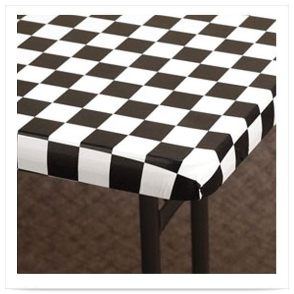 30 x 72 Kwik Cover Black/White Check Plastic Tablecover/Case of 25