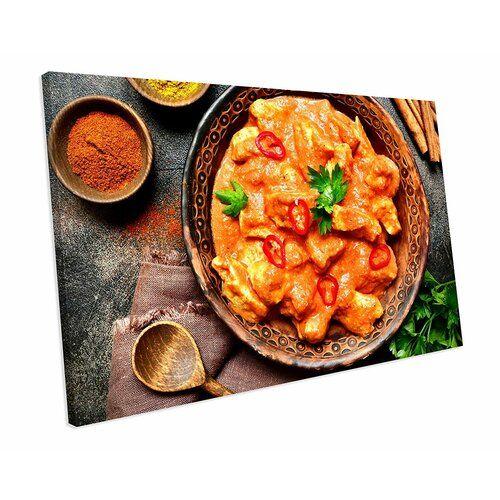 Chicken Tikka Masala Indian Food Kitchen' Fotografie auf Leinwand East Urban Home Größe: 48 cm H x 92 cm B