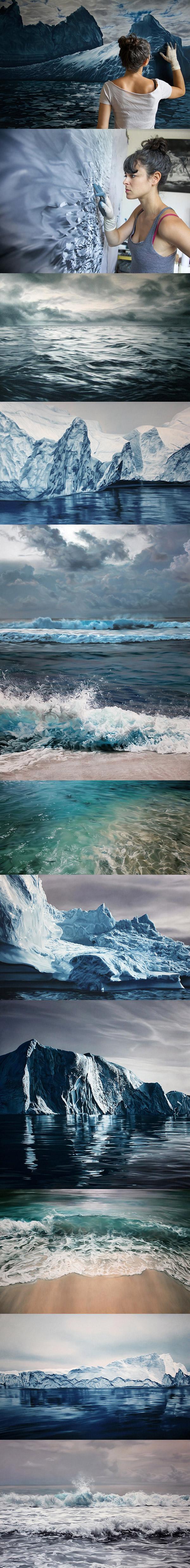 Ener ic Scale Paintings of Splashing Ocean Waves