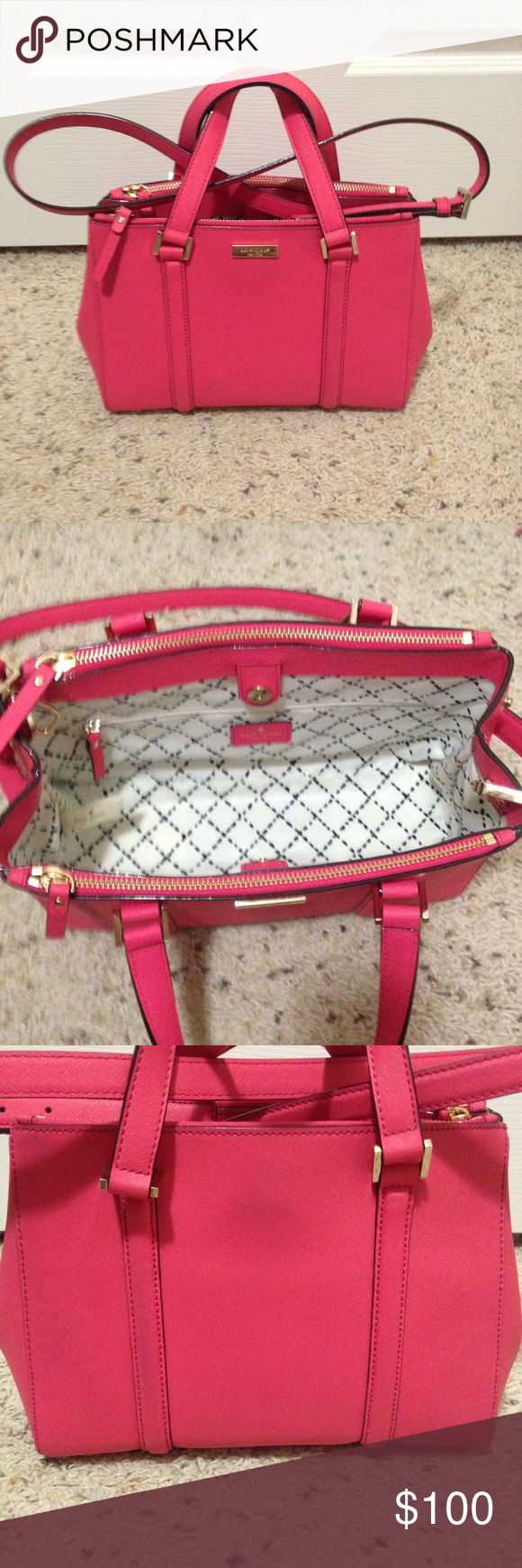Kate spade sm loden strawberry Kate spade newbury lane small loden satchel in strawberry. Shows some wear on back. Comes with dust bag and care book. Smoke free pet free home. kate spade Bags Satchels