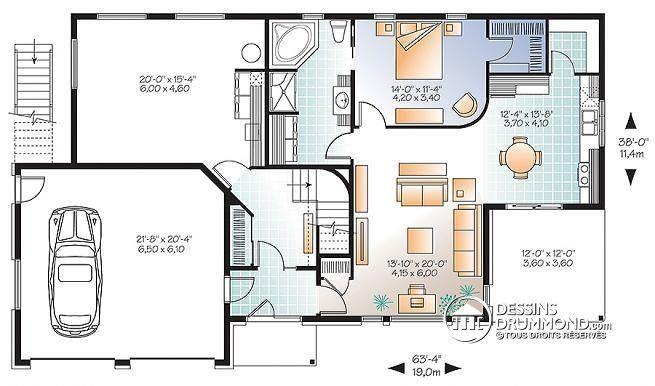 Plan de Rez-de-chaussée Maison bi-génération contemporaine, terrace