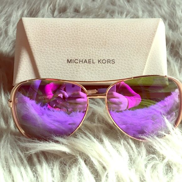 Michael Kors Chelsea sunglasses Rose gold hardware with purple flash  lenses. Worn a handful of times. Comes with case Michael Kors Accessories  Sunglasses 01e5285be7df