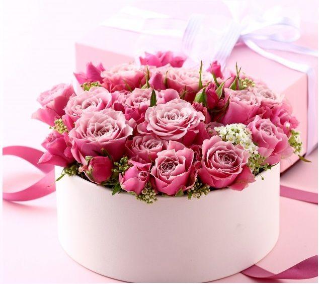 Цветы в коробке с днём рождения
