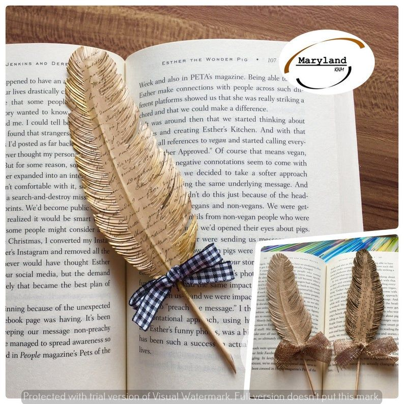 Unique Bookmarkfeather Bookmark From Paper Handmade Bird Etsy Unique Bookmark Feather Bookmark Book Lovers Gifts