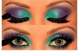 Mermaid makeup with green and purple