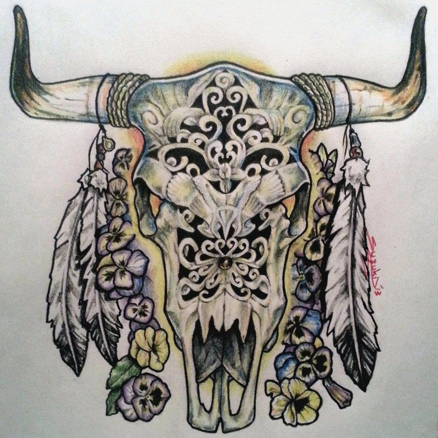 Cow skull tattoo flash - photo#12