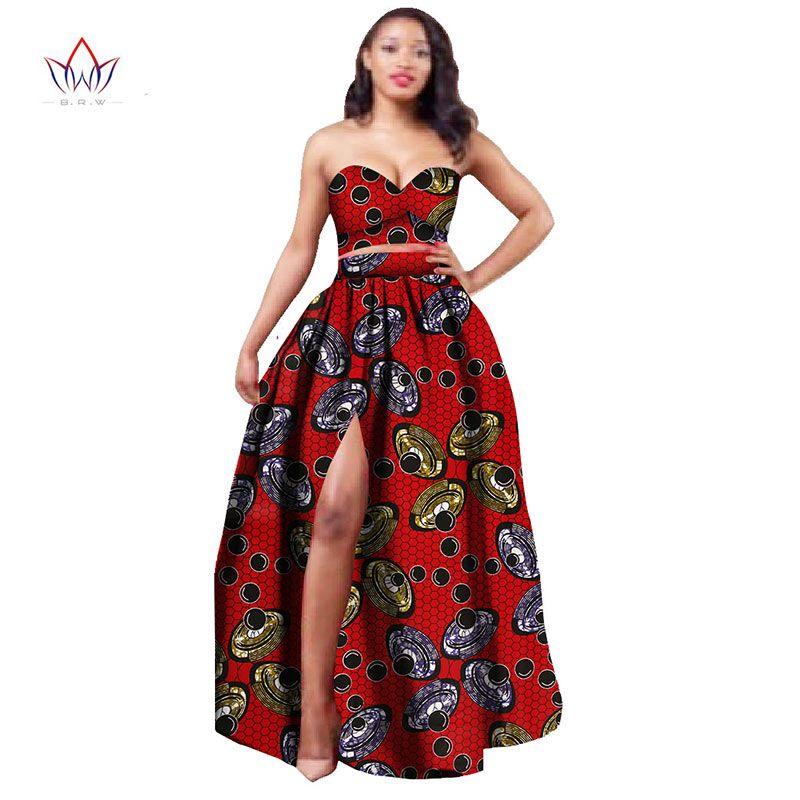 cd2c87e1af648 2017 Africain Vêtements Dashiki pour Femmes Bazin Riche Crop Top et Jupe  Ensemble 2 Pièce Vêtements Traditionnels Africains Plus La Taille WY506