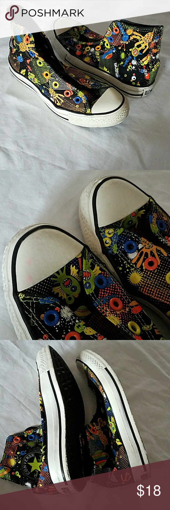 96c9245de0a Converse Space Alien Chuck Taylor Size 5. No shoelaces. Used but have alot  of life still in them. Space Alien print. Converse Shoes Sneakers