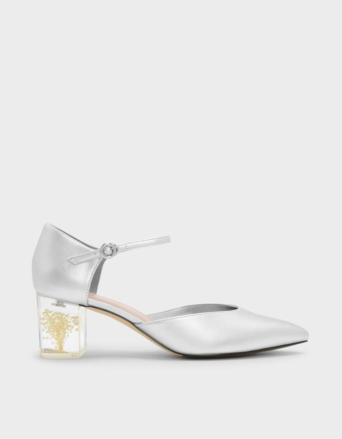 bee2e8241041 CHARLES   KEITH - Shoes. Silver pointed heels featuring a Mary Jane strap  and a
