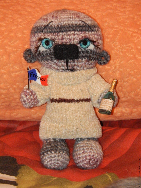 Купить Мишка вязаный - комбинированный, Вязание крючком, игрушка ручной работы, игрушка крючком