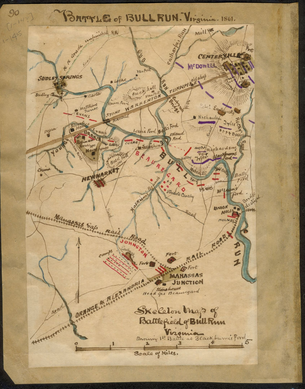 Skeleton map of battlefield of Bull Run Virginia  showing 1st