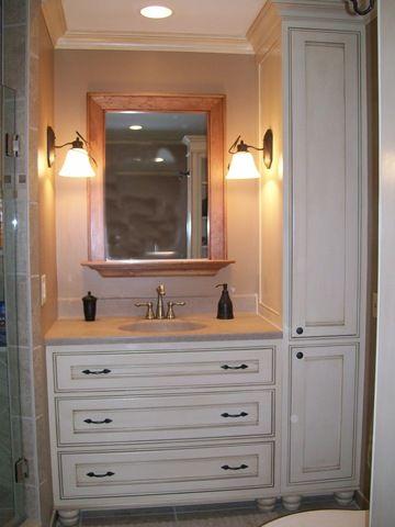 Small Sink Vanity With Narrow Side Storage Custom Bathroom Cabinets Custom Bathroom Vanity Custom Bathroom