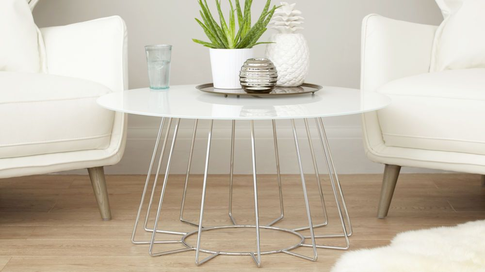 orbit white glass and chrome coffee table | furniture, round