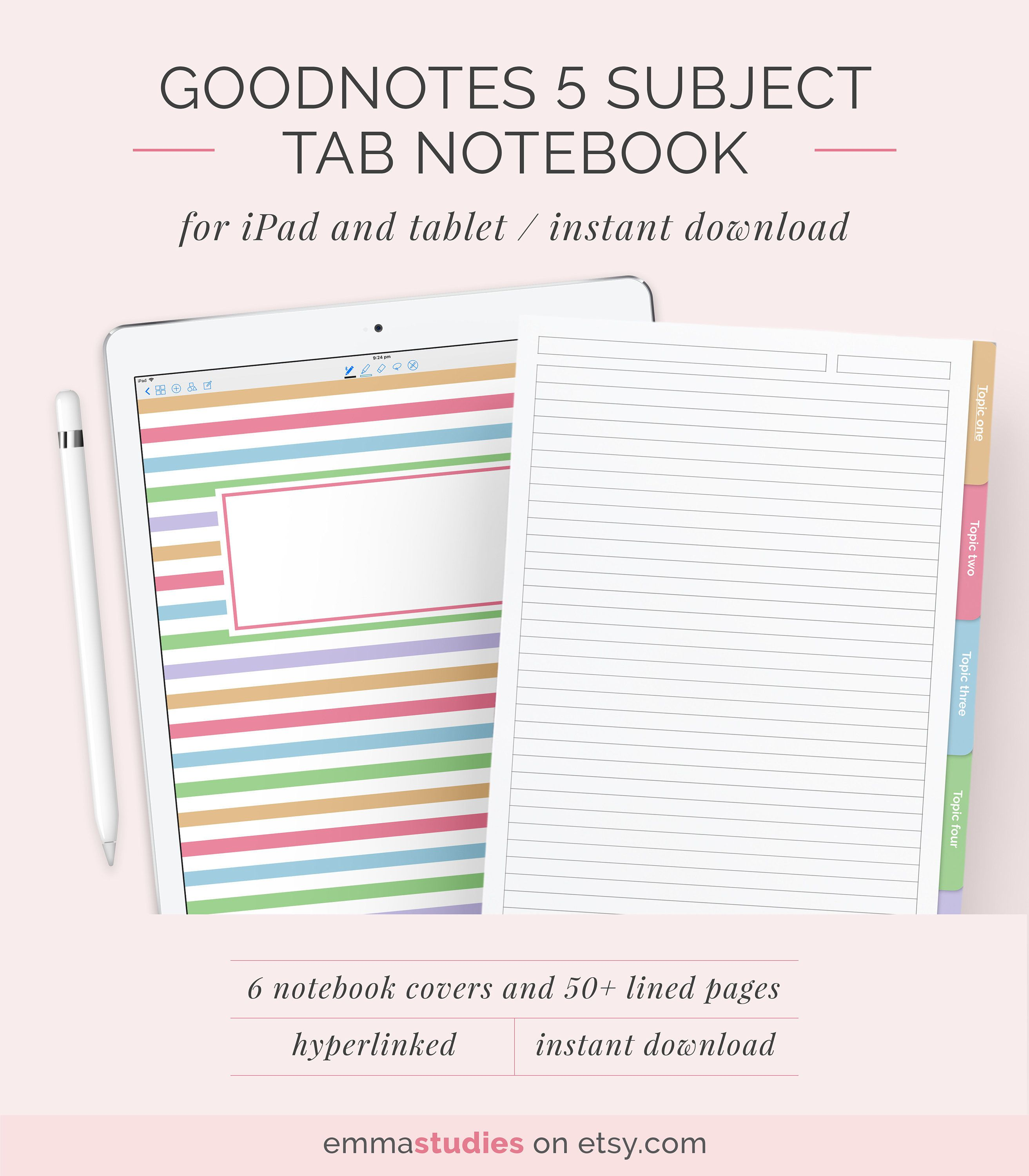 Goodnotes 5 Subject Student Notebook Template Digital Lined Ruled Customisable Notebook Ipad College School Instant Download Notebook Templates Student Notebooks Customizable Notebooks