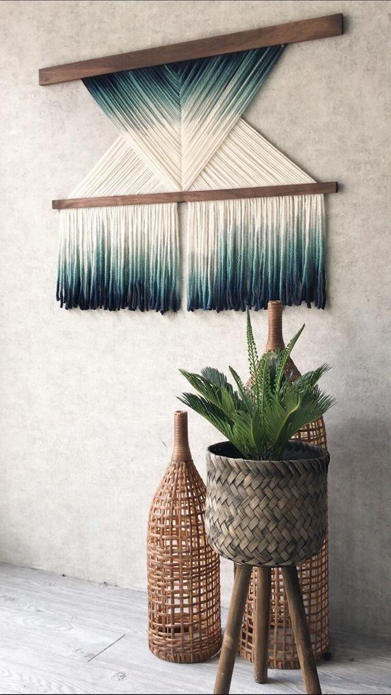 Wall hangingfiber artmid century moderntapestrywall | Etsy