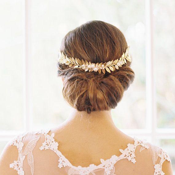 Pretty hair.  Roman laurel leaf bridal gold crown Style by EricaElizabethDesign, $325.00