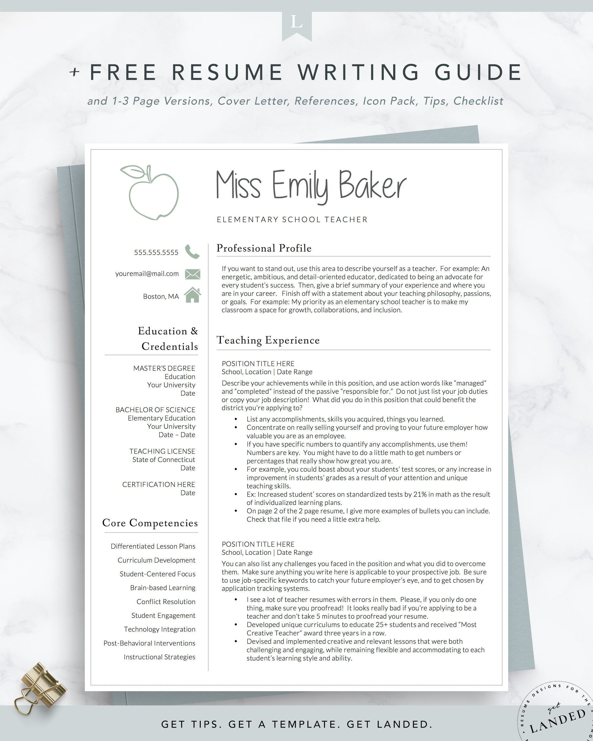 Teacher Resume Template For Word Pages Apple Resume Etsy Teacher Resume Template Free Teacher Resume Template Elementary Teacher Resume