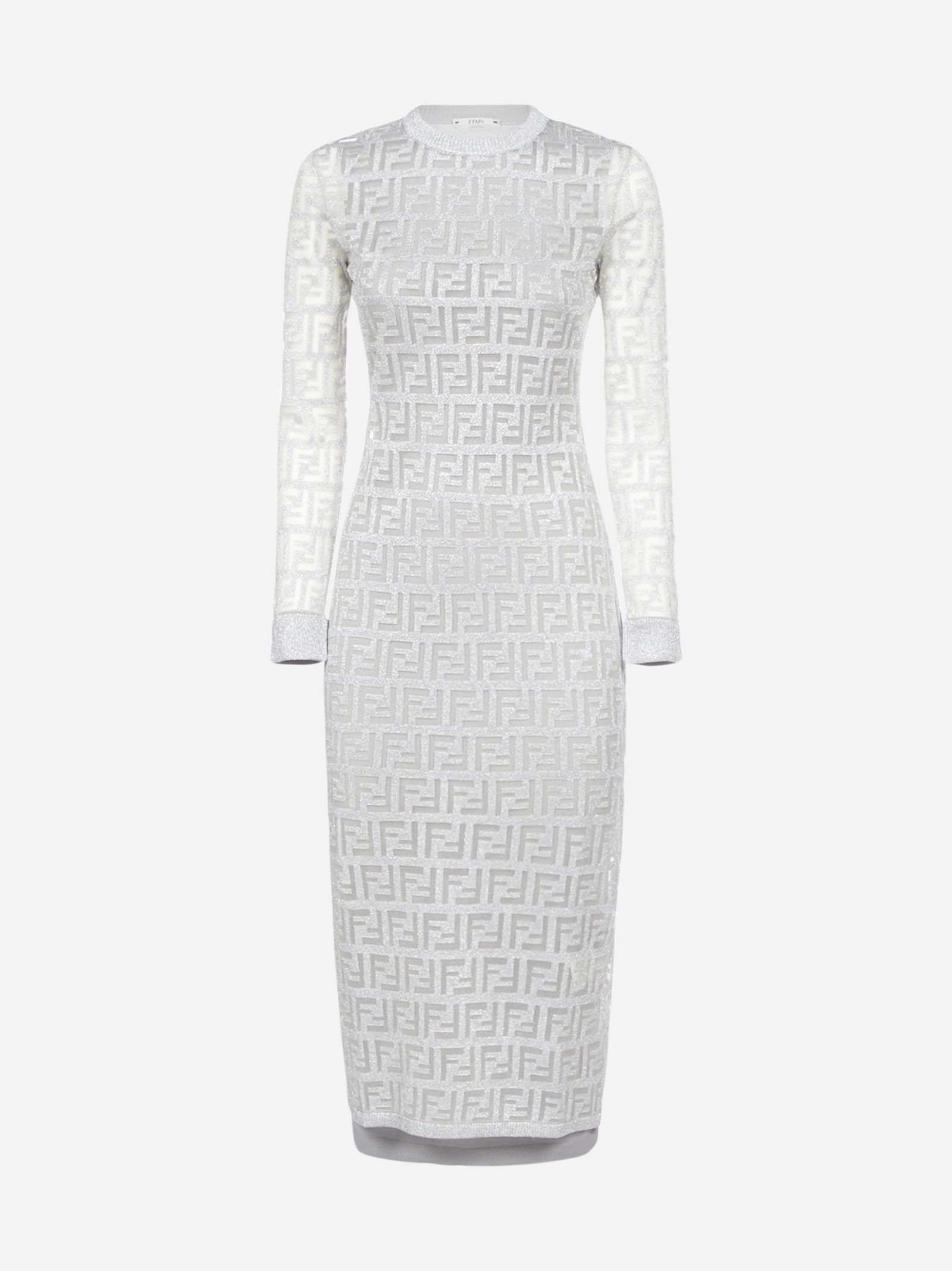 Fendi Ff Motif Lame Stretch Knit Midi Dress Fendi Cloth Knit Midi Dress Sweater Dress Women Dresses [ 2136 x 1600 Pixel ]