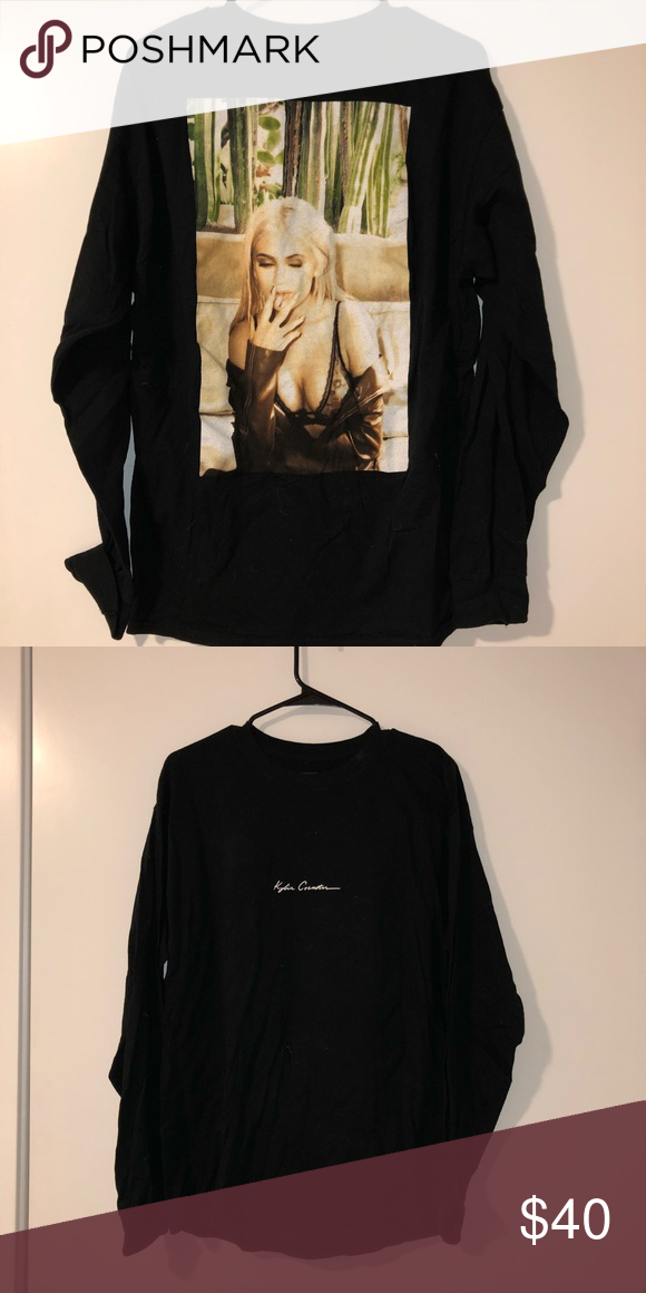"""e042b1977c4b Kylie Jenner top Kylie Jenner long sleeve black top with """"kylie cosmetics""""  written on the front and her face on the back Kylie Cosmetics Tops Tees -  Long ..."""