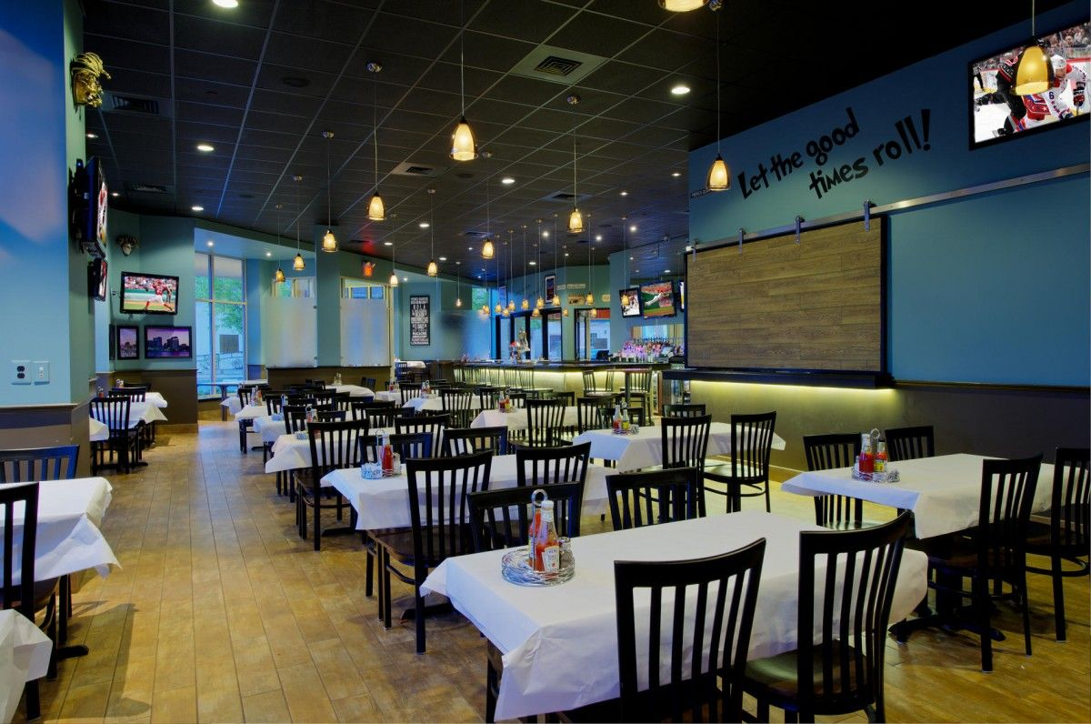restaurant color design | the combination of blue walls and sandy