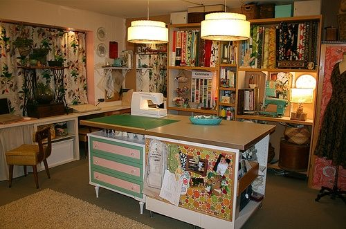 craft room ideas | Sewing / Craft Room Ideas / storage and tables - -old sewing machine ...