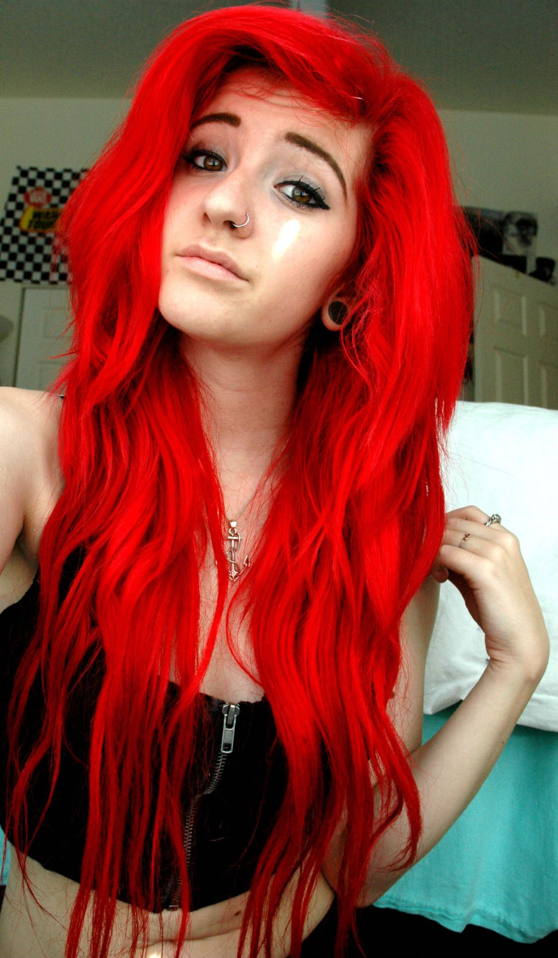 bright red dyed hair st