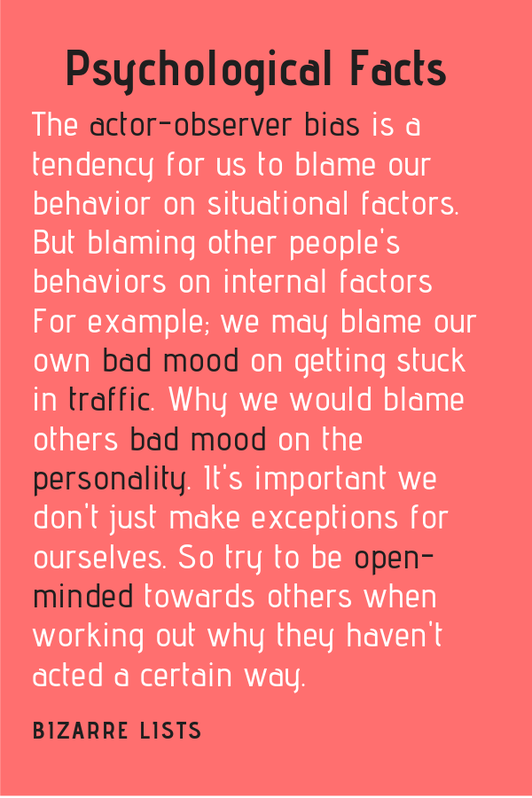 The actor-observer bias is a tendency for us to blame our behavior on situational factors. But blame other people's behaviors… (With images ...