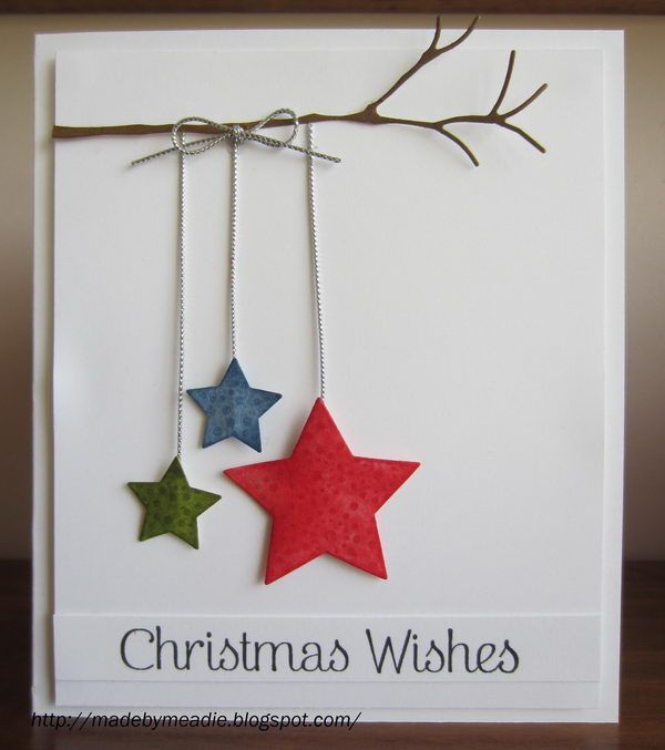 simple christmas card with stars do with hearts for vday - Simple Christmas Cards