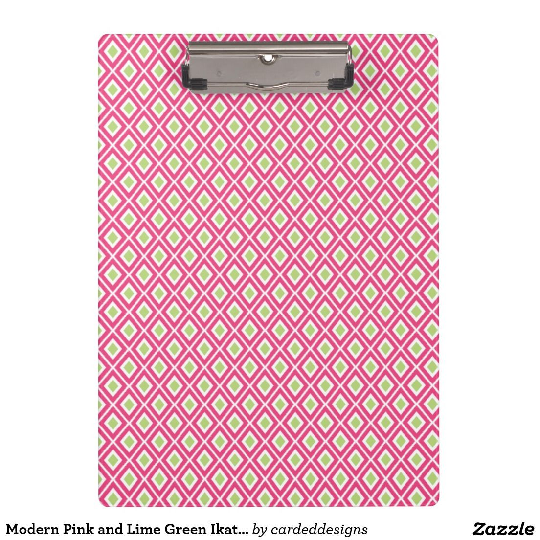 Modern Pink and Lime Green Ikat Pattern Clipboard