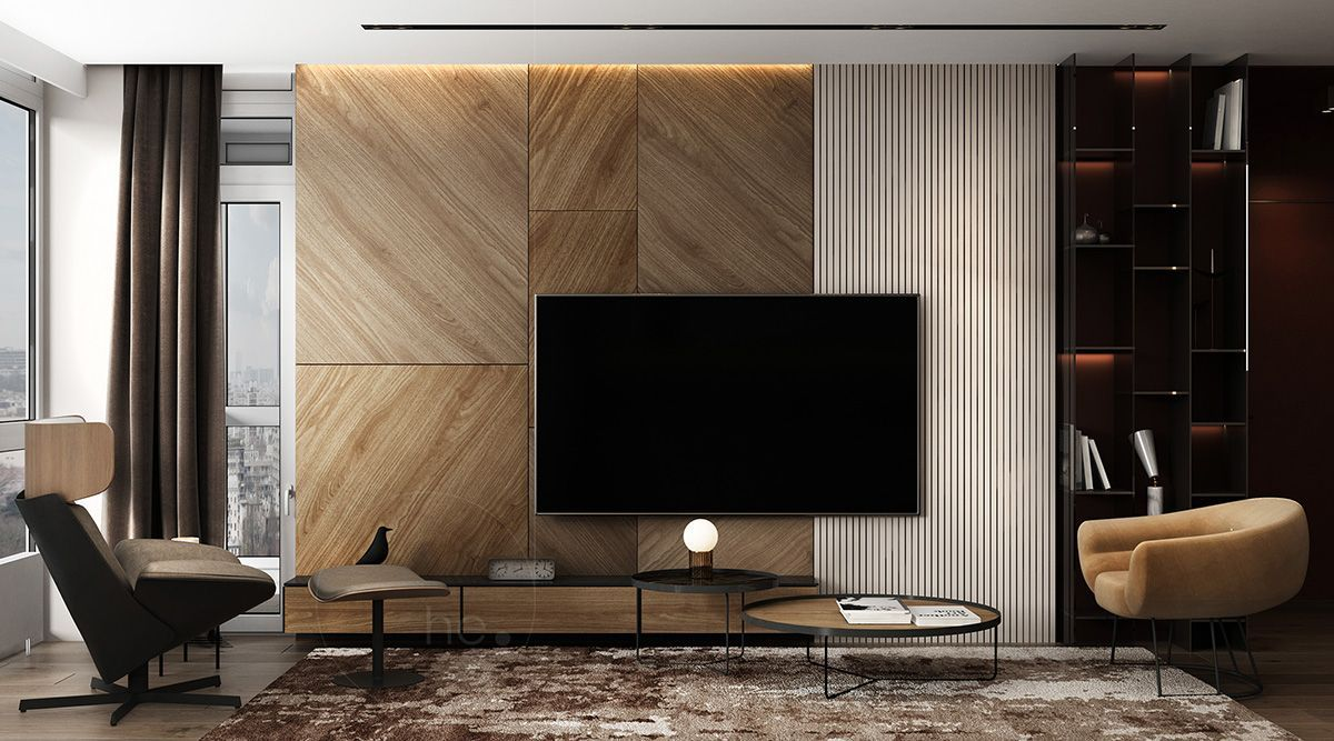 Combination Of Beauty And Functionality Armchair Wood Carpet Livingroom Disenodeinteriores Living Room Tv Living Room Tv Wall Living Room Design Modern