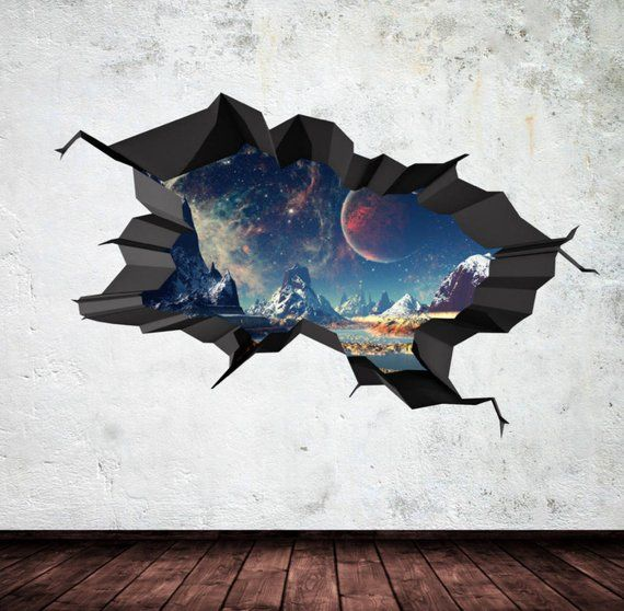 wall decal earth moon space planet galaxy cracked 3d wall on wall stickers 3d id=89641