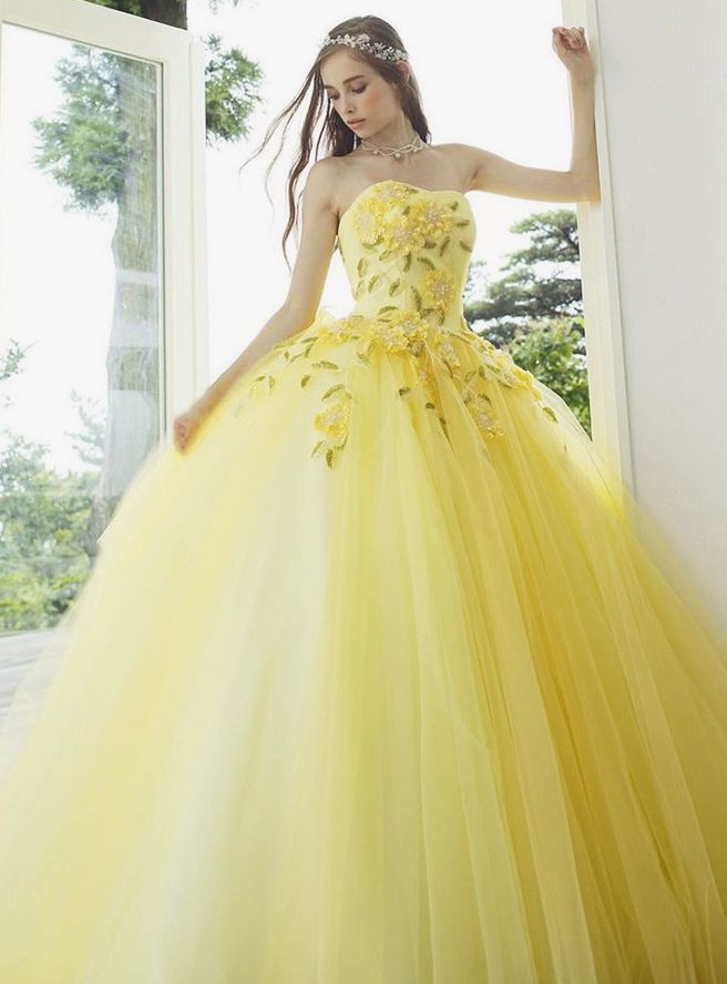 Love at first sight with this refreshing yellow ball gown from ...