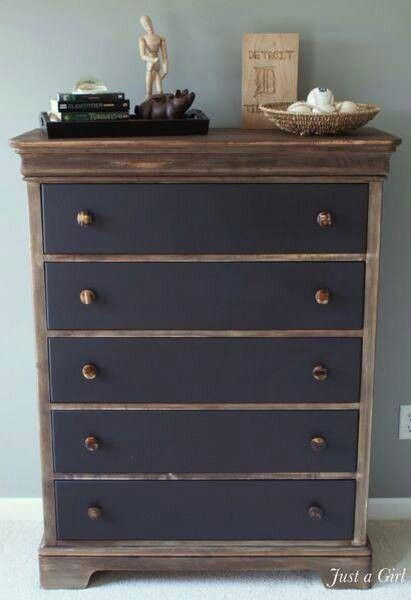 Dresser With Matte Black Drawers And