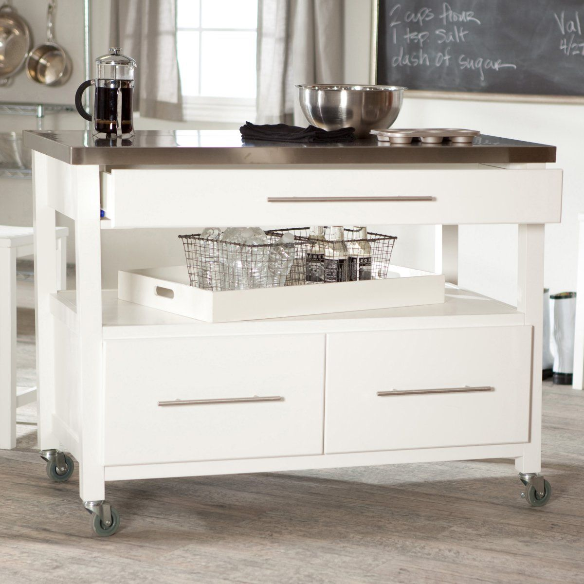 Attirant Concord Kitchen Island With Stools   White   Kitchen Islands And Carts At  Hayneedle