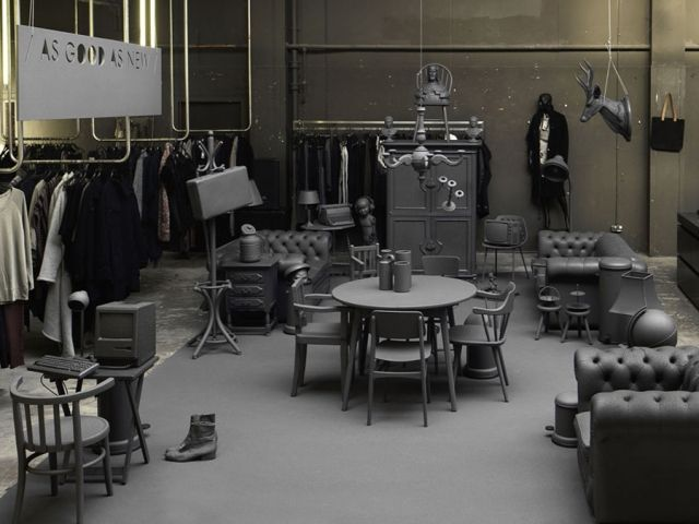 AsGoodAsNew Pop-up Shop by i29  Monochromatic Pop-Up Embraces Recycling Trend