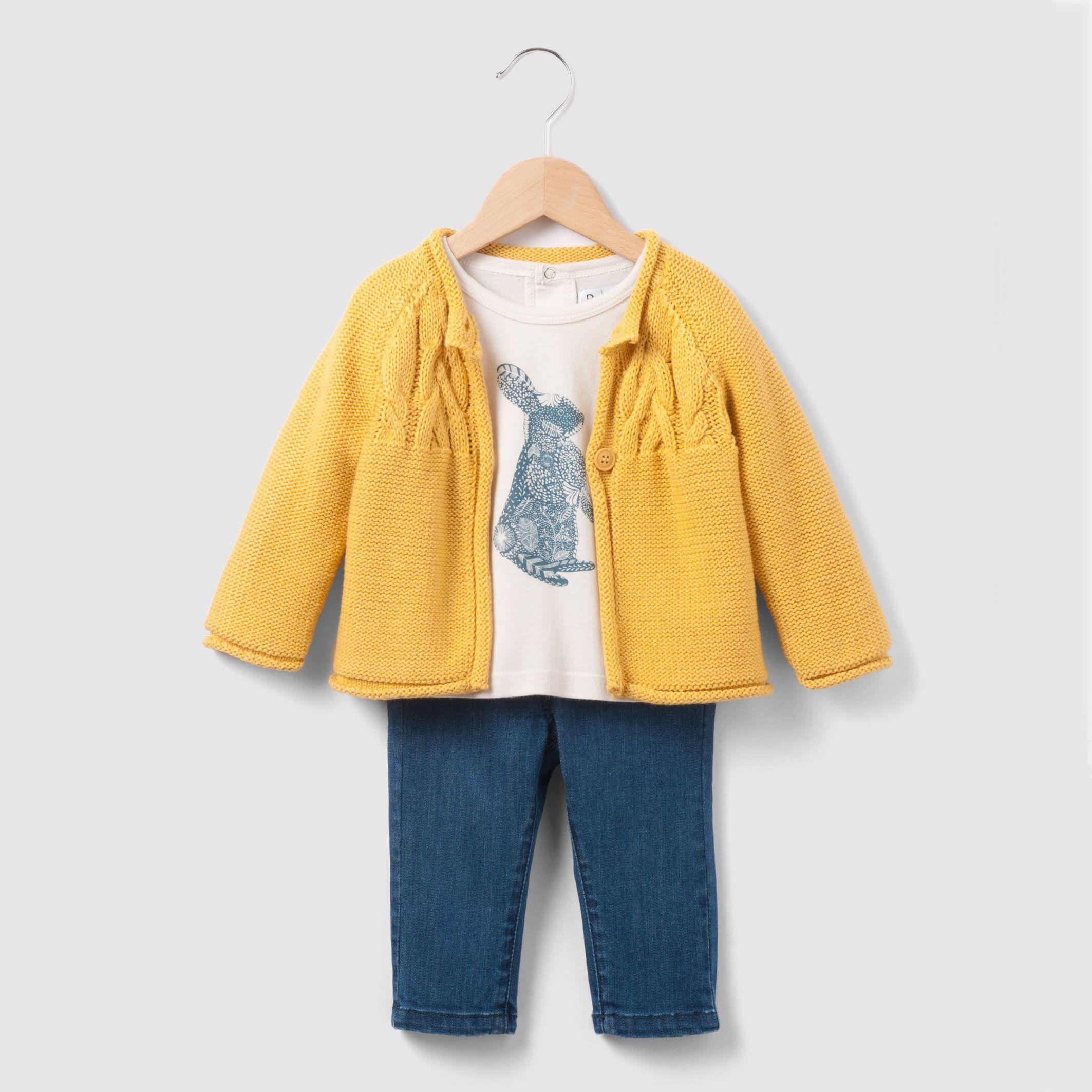 3-teiliges Set aus Strickjacke, Shirt und Jeans #Babymode #Jacke #Hose #Shirt