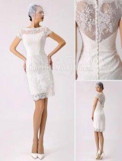 11923dacc31 Col haut robe de mariée civile satin dentelle robe sur mesure