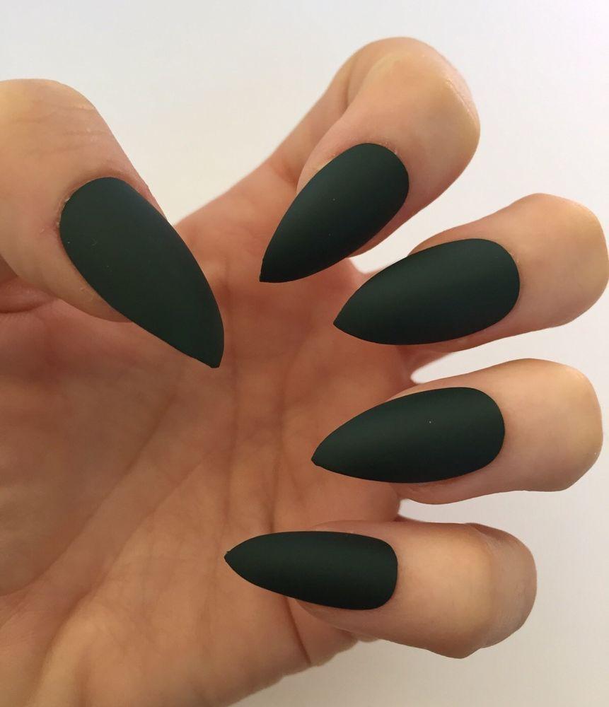Set of 20 Handmade Dark Green Matte Press On Stiletto Nails Claws ...