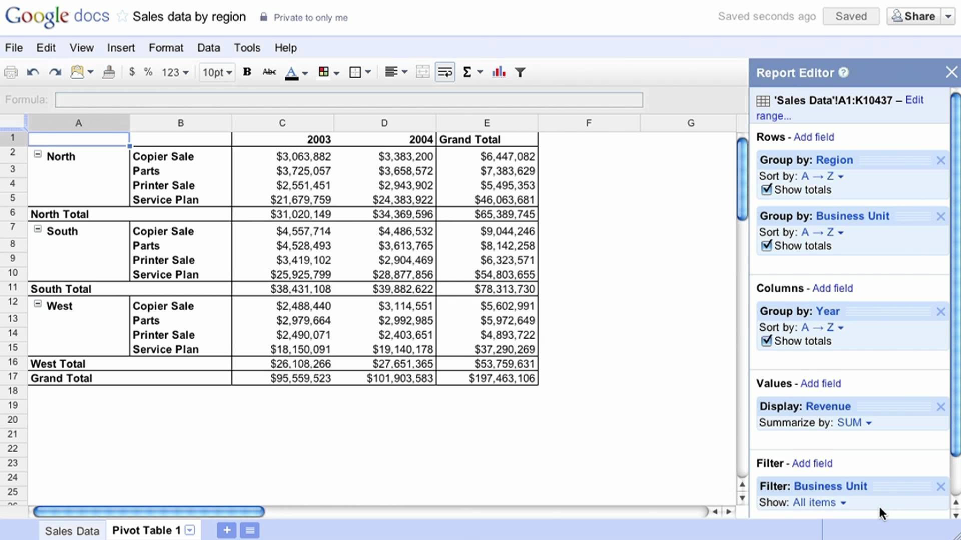 Pivot tables are now available in Google Docs. Pivot tables make it easy to process and summarize large data sets in seconds. http://docs.google.com