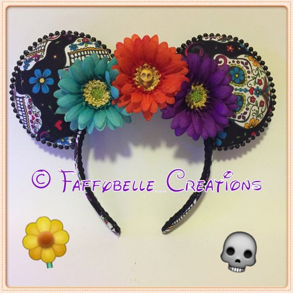 These gorgeous Day of the Dead Ears are great fun! Colorful and unique! I can make the flowers all one color or assorted colors! The little