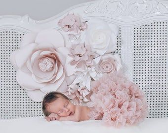 Soft Pink Paper Flower Wall Decor - Nursery Wall Decor - Paper Flowers Nursery Set Up (code:174)