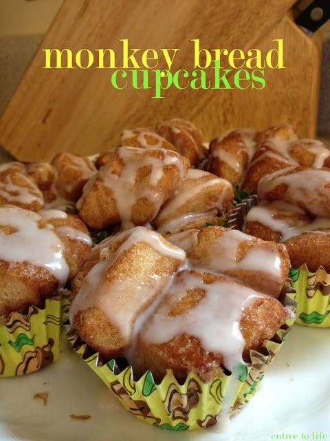 {Entree To Life: Monkey Bread Cupcakes} These semi-homemade treats use refrigerated biscuit dough and are quick and easy! So amazingly delicious too :)