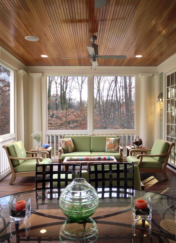 Porch Ideas Natural Wood Color Beadboard Ceiling Patio Furniture Porch Furniture Traditional