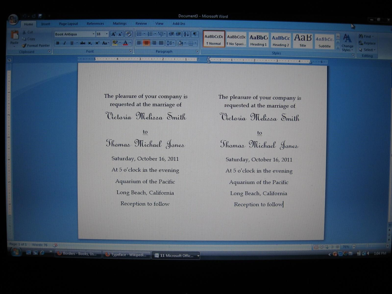 how to make invitations on word
